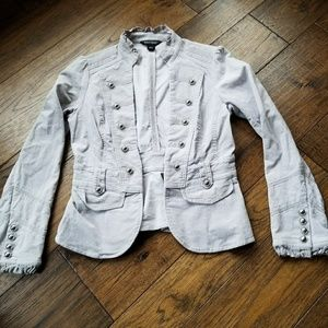 WHBM Lt Gray Military Style Jacket w silver button